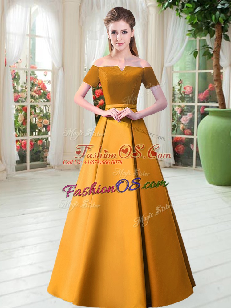Custom Fit Floor Length Gold Prom Dresses Satin Short Sleeves Belt
