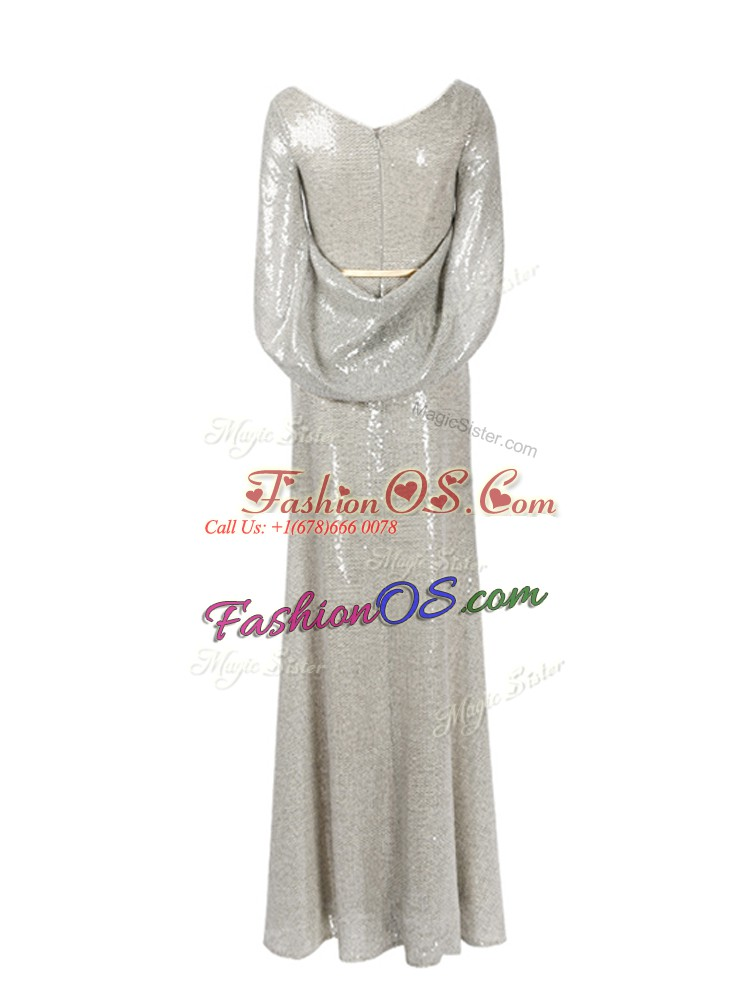 Floor Length Grey Prom Dresses Half Sleeves Belt