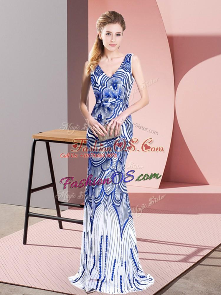 Vintage Blue Mermaid Beading Prom Dress Zipper Sleeveless Floor Length