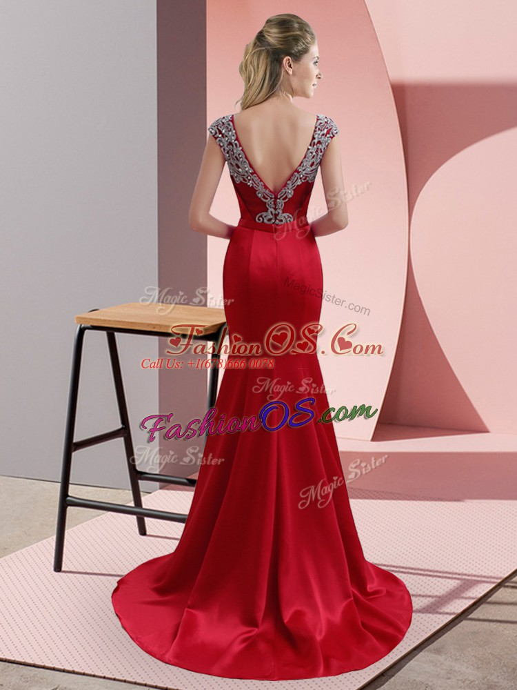 Noble Red Cap Sleeves Beading Backless Prom Dress