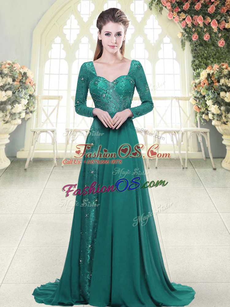 Sophisticated Green Chiffon Backless Sweetheart Long Sleeves Prom Dresses Sweep Train Beading and Lace