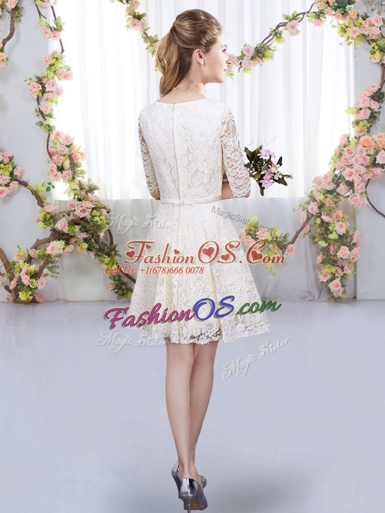 V-neck Half Sleeves Bridesmaid Dresses Mini Length Belt Pink Lace
