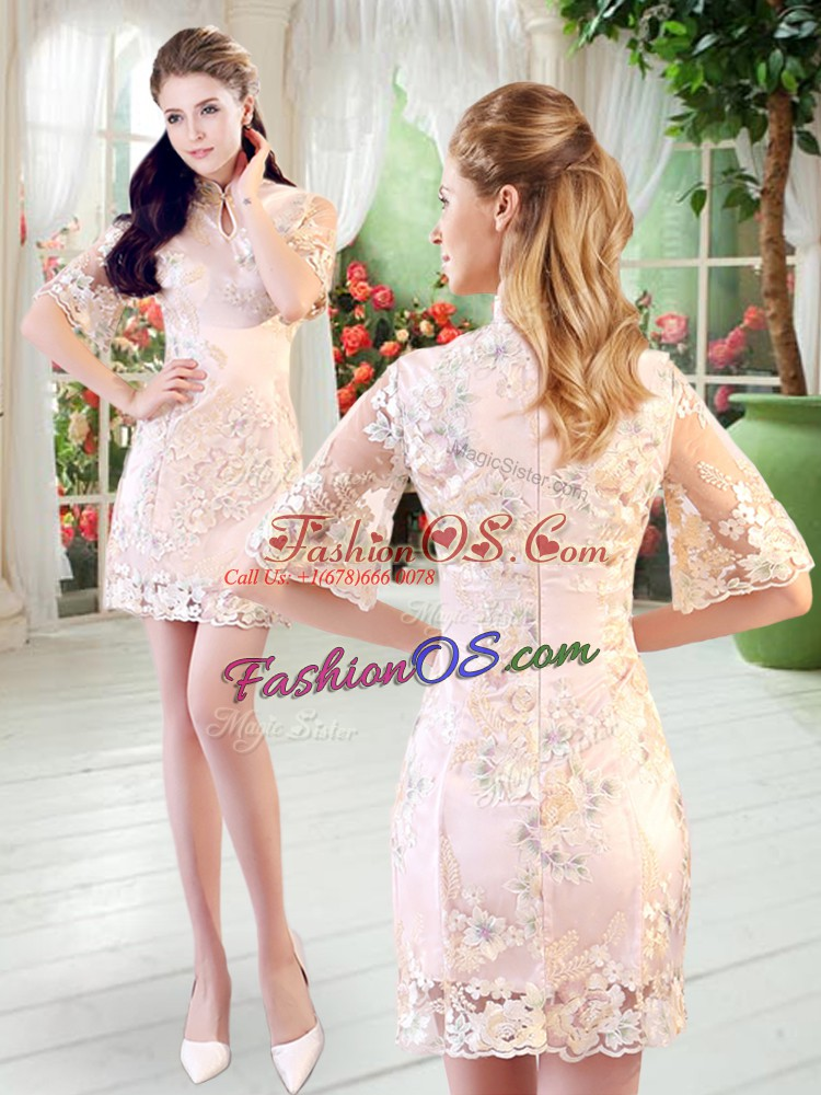 Champagne Zipper High-neck Half Sleeves Mini Length Prom Evening Gown Lace