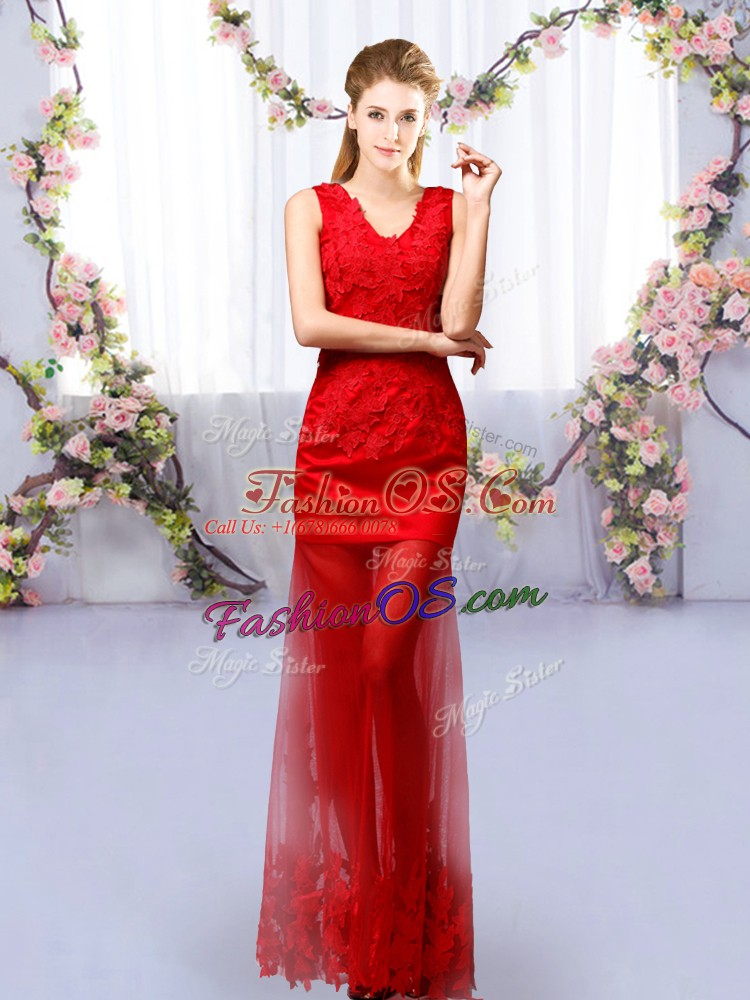 Classical Red V-neck Lace Up Lace Dama Dress for Quinceanera Sleeveless