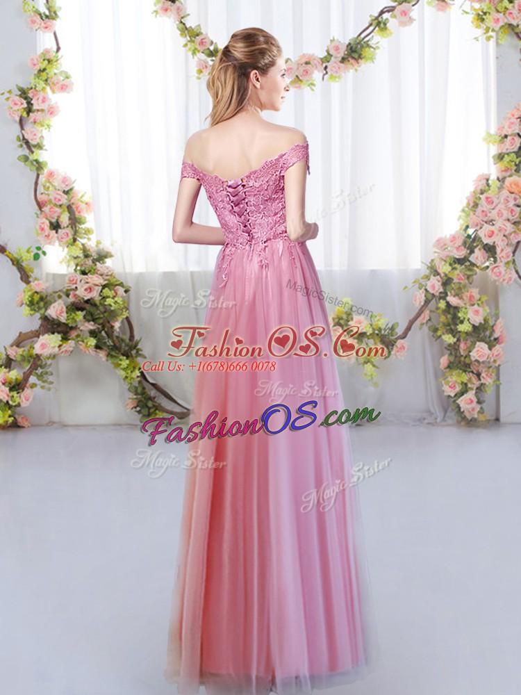 Dynamic Off The Shoulder Sleeveless Lace Up Vestidos de Damas Lavender Tulle
