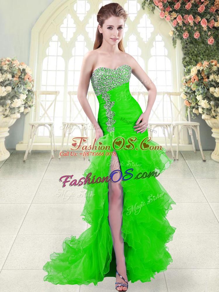 Green Sleeveless Beading and Ruffled Layers Lace Up Homecoming Dress