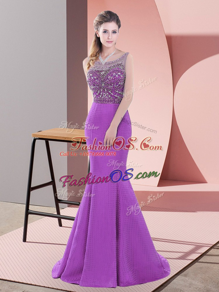 Purple Dress for Prom Satin Sweep Train Sleeveless Beading and Lace