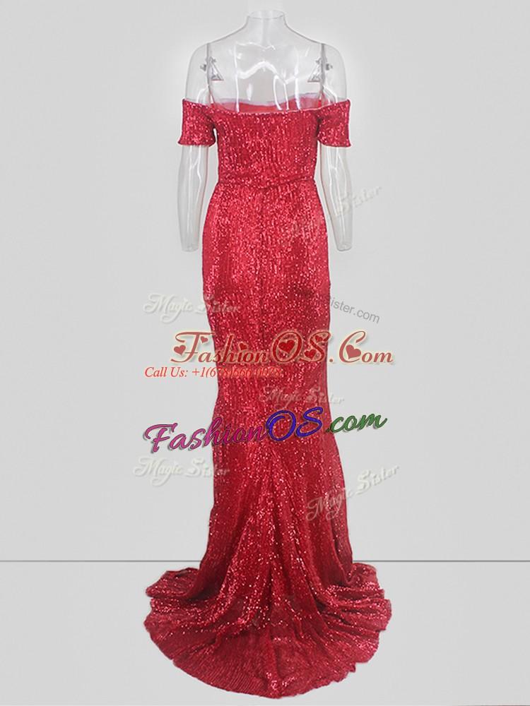 Smart Red Mermaid Off The Shoulder Short Sleeves Sequins Homecoming Dress Sweep Train
