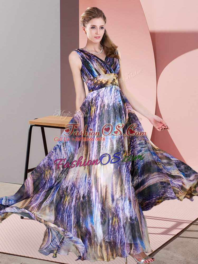 Luxurious Multi-color Prom Evening Gown Prom and Party with Pattern V-neck Sleeveless Lace Up