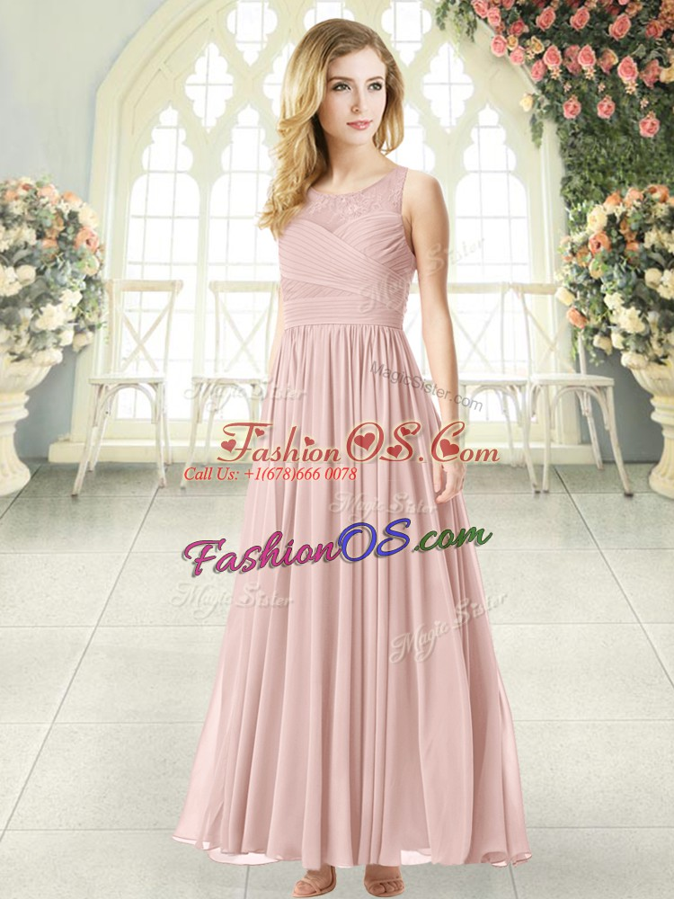 Shining Scoop Sleeveless Homecoming Dress Ankle Length Lace Pink Chiffon