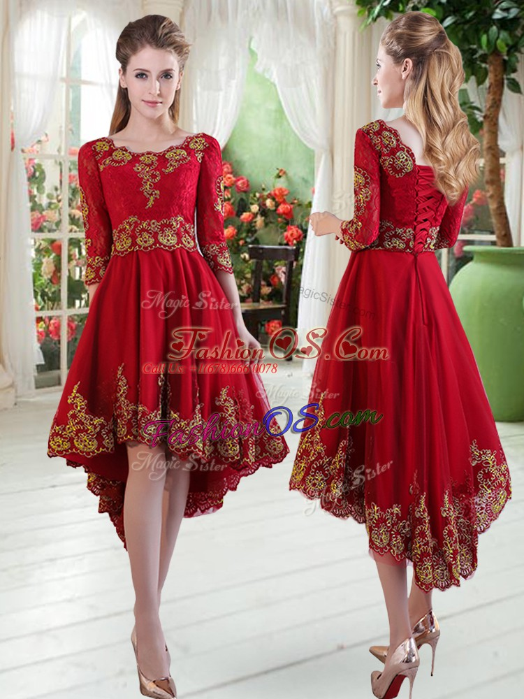 Dramatic High Low Wine Red Prom Party Dress Satin Long Sleeves Embroidery