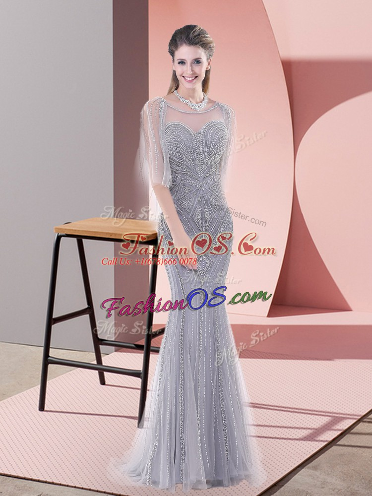 Top Selling Zipper Prom Party Dress Grey for Prom and Party with Beading Sweep Train