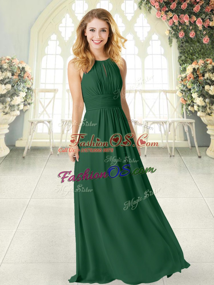 Modest Green Chiffon Zipper Scoop Sleeveless Floor Length Prom Dress Ruching