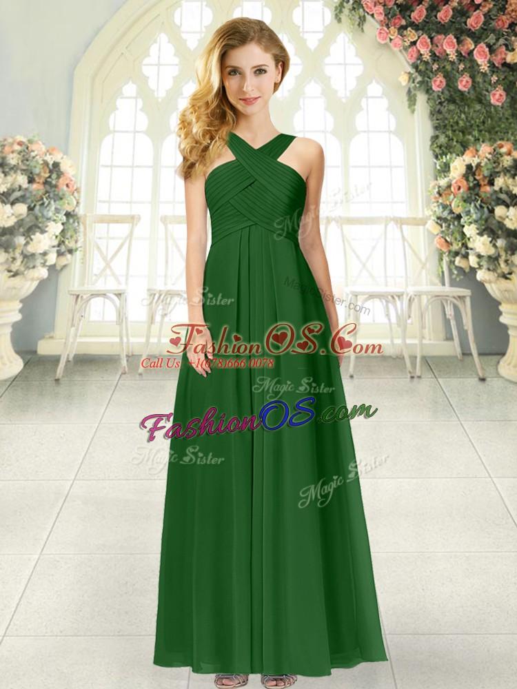 Superior Green Zipper Straps Ruching Evening Dress Chiffon Sleeveless