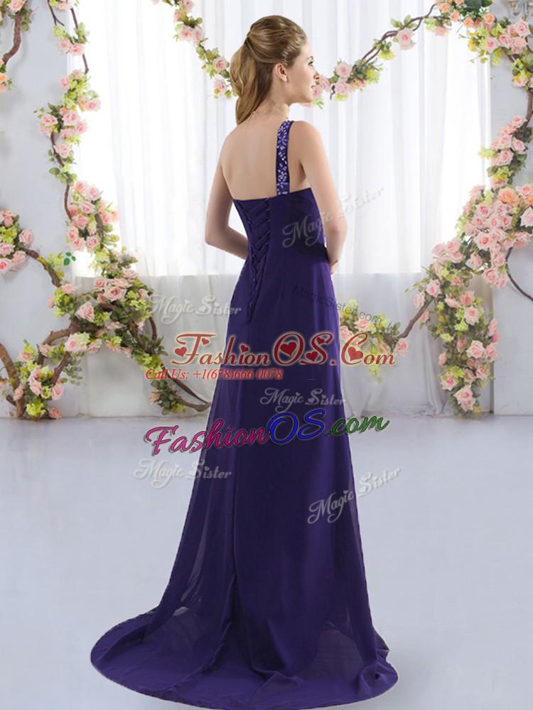 Colorful Purple Empire One Shoulder Sleeveless Chiffon Brush Train Lace Up Beading Dama Dress