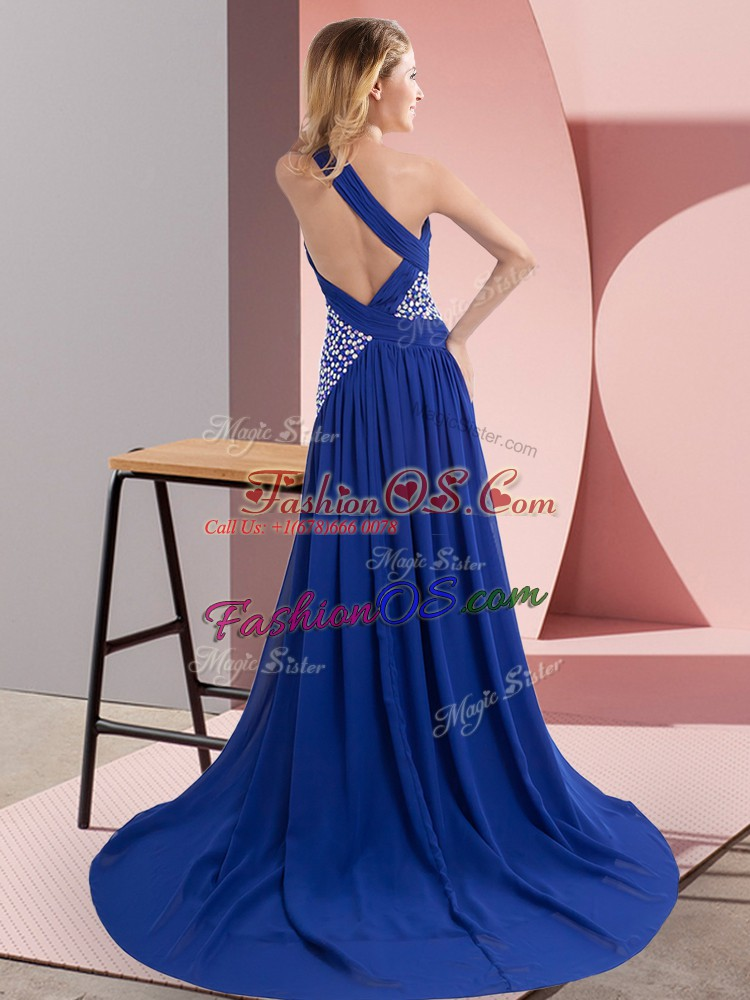 Fitting Royal Blue Column/Sheath Chiffon One Shoulder Sleeveless Beading and Ruching Backless Prom Dresses Sweep Train