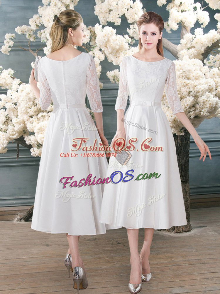 White A-line Satin Scoop 3 4 Length Sleeve Lace Tea Length Zipper Prom Gown