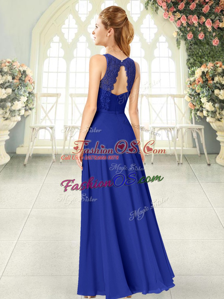 Scoop Sleeveless Chiffon Evening Dress Lace Backless