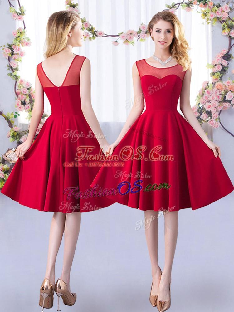 Modern Red Satin Zipper Scoop Sleeveless Knee Length Bridesmaids Dress Ruching
