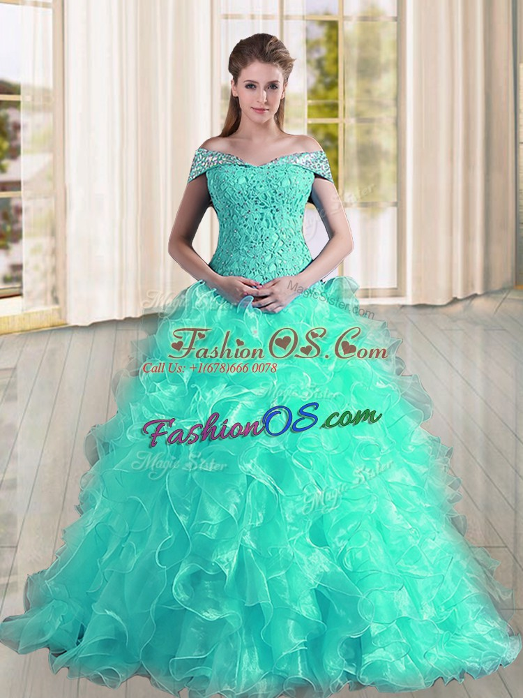 Turquoise A-line Off The Shoulder Sleeveless Organza Sweep Train Lace Up Beading and Lace and Ruffles 15th Birthday Dress