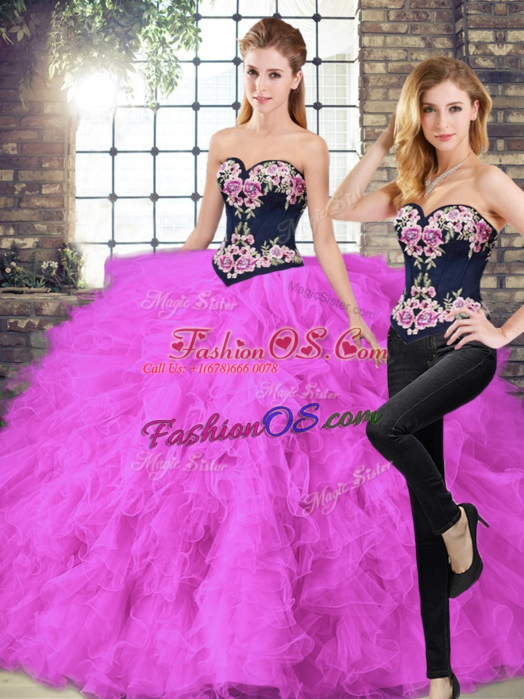 Tulle Sweetheart Sleeveless Lace Up Beading and Embroidery Quinceanera Gown in Fuchsia