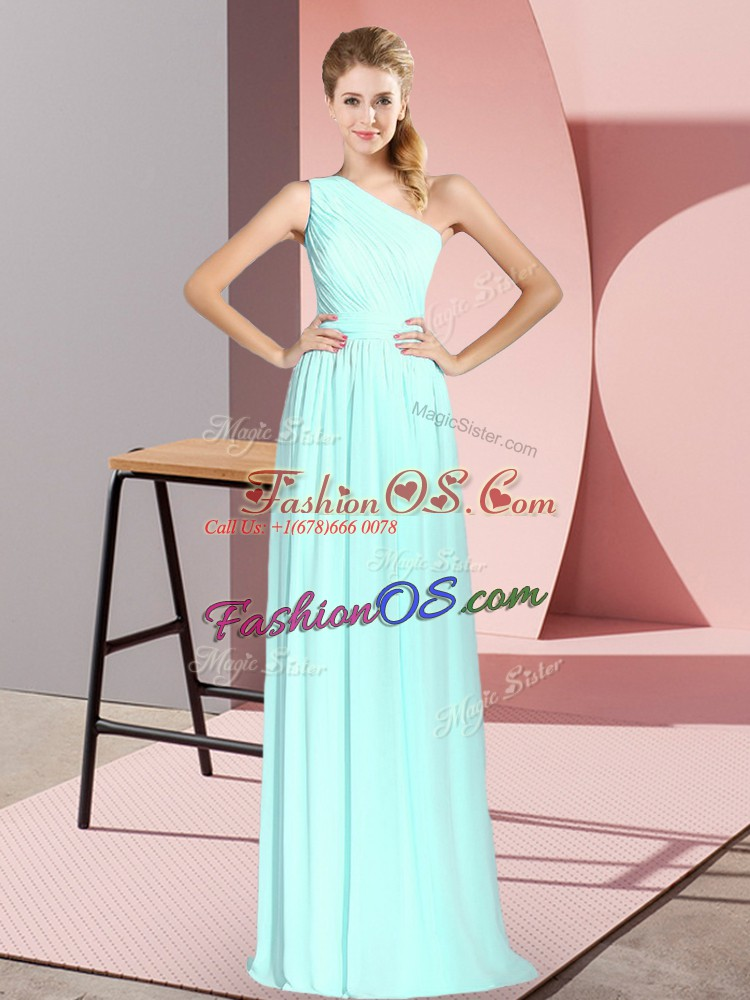 Apple Green Sleeveless Chiffon Lace Up Prom Gown for Prom and Party