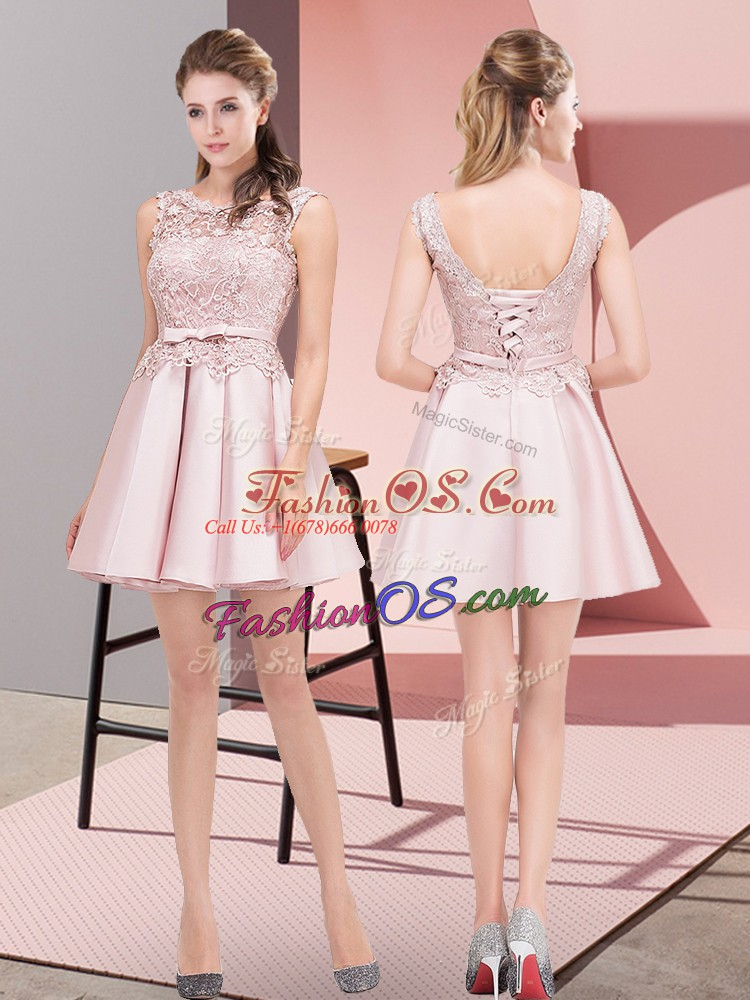 Sleeveless Satin Mini Length Lace Up Dress for Prom in Baby Pink with Lace and Bowknot