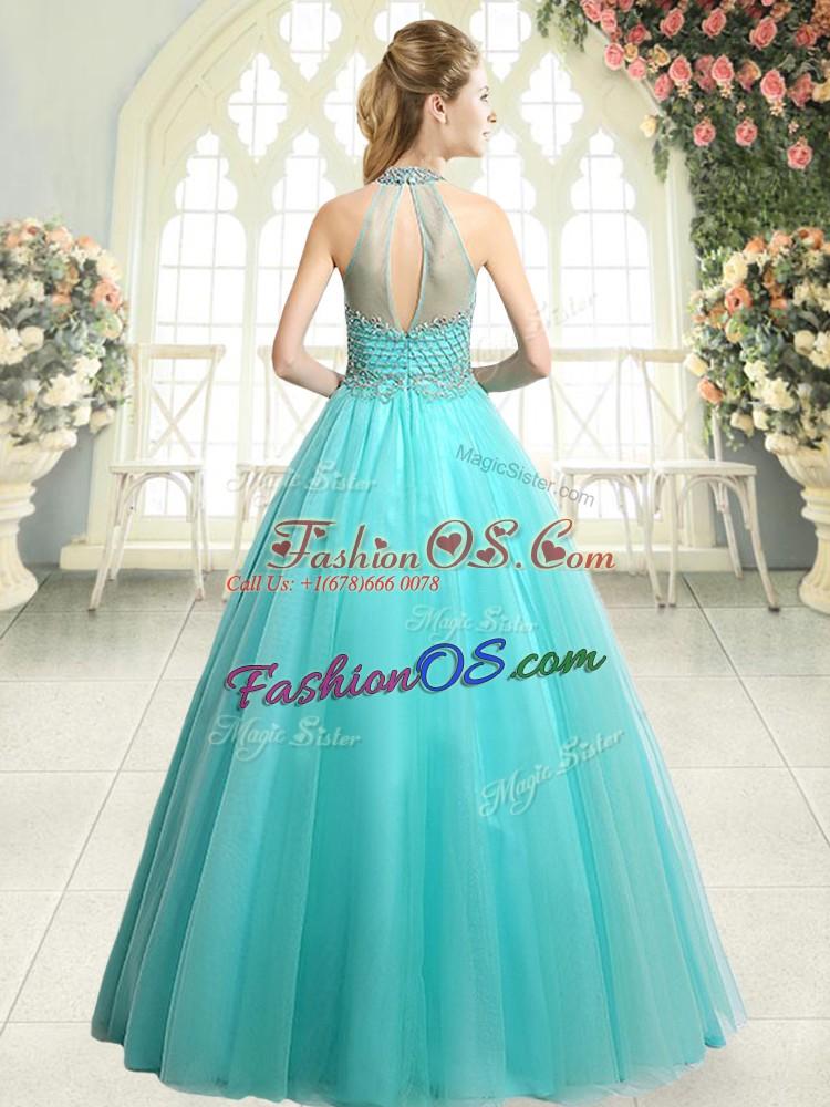 Sleeveless Zipper Floor Length Beading Prom Evening Gown