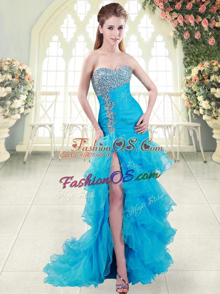 Lace Up Prom Dress Aqua Blue for Prom and Party with Beading and Ruffled Layers Brush Train