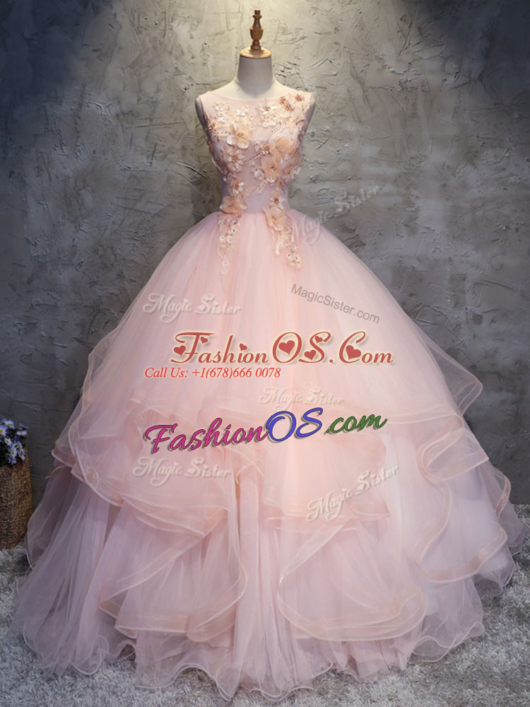 Fine Pink Quinceanera Dresses Military Ball and Sweet 16 and Quinceanera with Appliques and Ruffles Scoop Sleeveless Lace Up