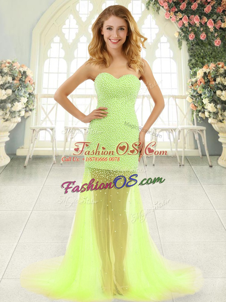 Tulle Sweetheart Sleeveless Brush Train Zipper Beading Prom Gown in Yellow Green