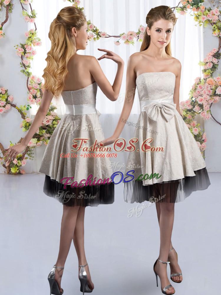 Flirting White Strapless Zipper Bowknot Quinceanera Court Dresses Sleeveless