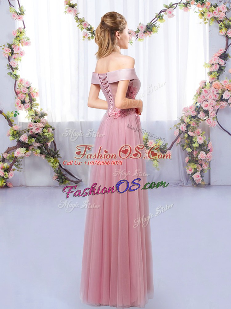 Custom Designed Pink Sleeveless Tulle Lace Up Quinceanera Court of Honor Dress for Prom and Party and Wedding Party