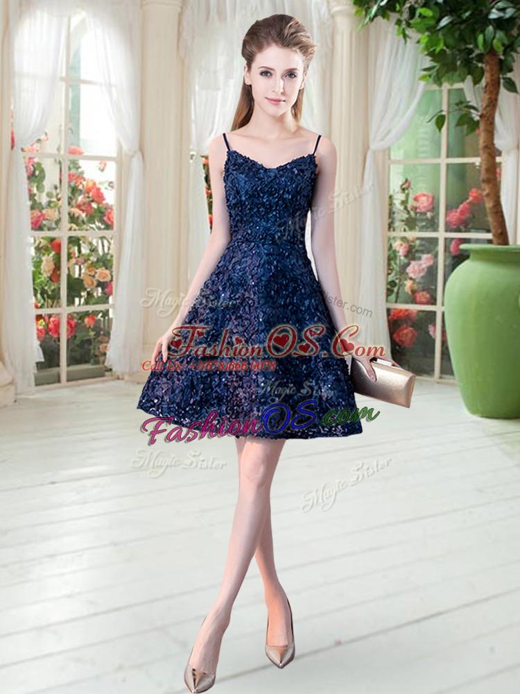 Mini Length Navy Blue Prom Dresses Sleeveless Lace