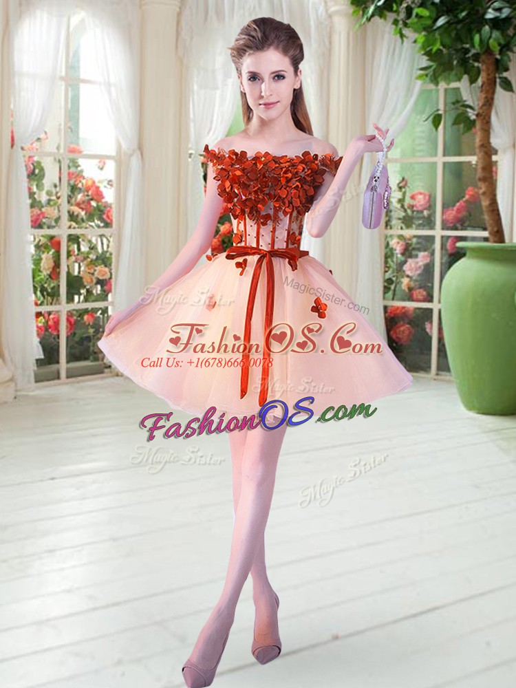 Hot Sale Off The Shoulder Sleeveless Lace Up Peach Tulle