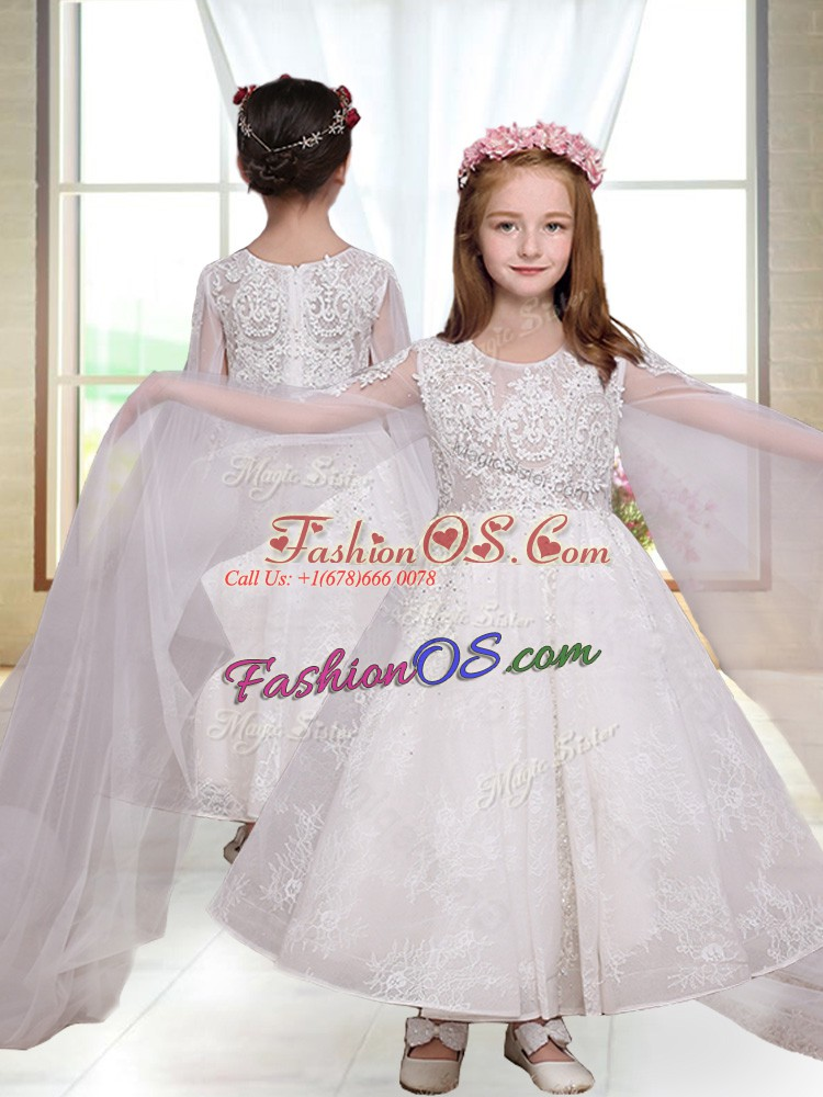 Simple Ankle Length Zipper Flower Girl Dresses for Less White for Wedding Party with Lace