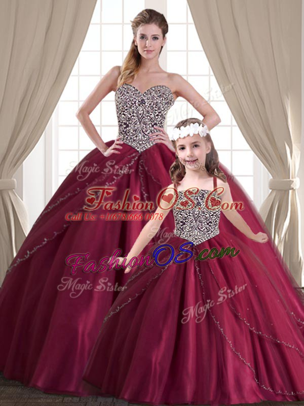 Comfortable Floor Length Lace Up Sweet 16 Quinceanera Dress Red for Military Ball and Sweet 16 and Quinceanera with Beading