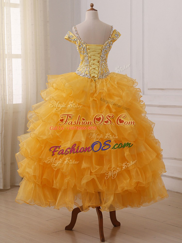 Gold Organza Lace Up Off The Shoulder Sleeveless Floor Length Kids Pageant Dress Beading and Ruffled Layers