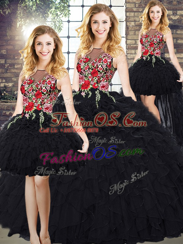 Black Organza Zipper Scoop Sleeveless Vestidos de Quinceanera Embroidery and Ruffles