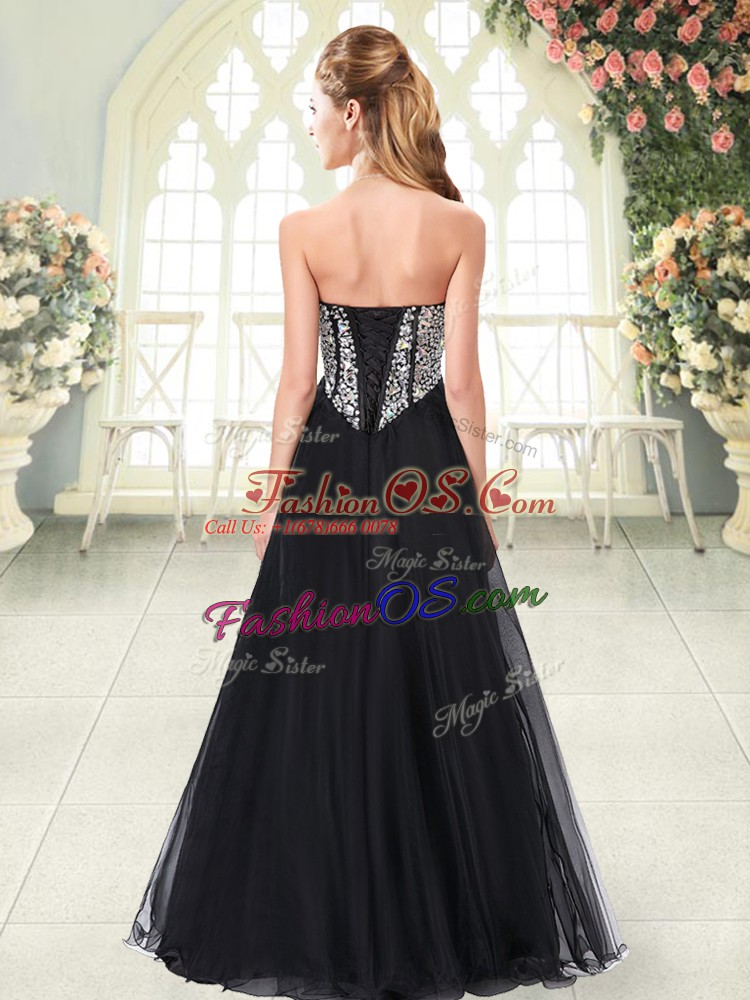 Lavender Tulle Lace Up Sweetheart Sleeveless Floor Length Prom Party Dress Beading