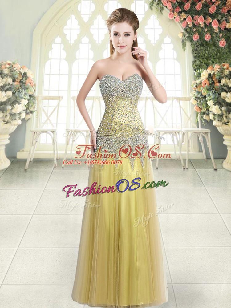 Fitting Floor Length Column/Sheath Sleeveless Gold Homecoming Dress Zipper