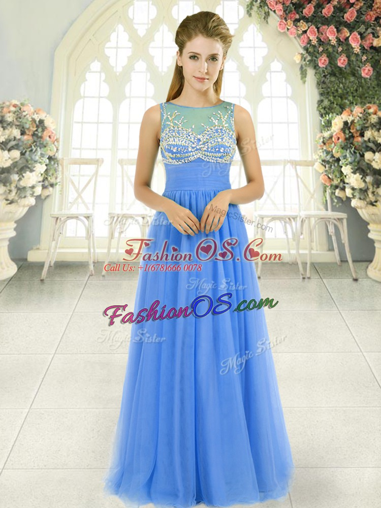 Blue Prom and Party and Military Ball with Beading Scoop Sleeveless Side Zipper