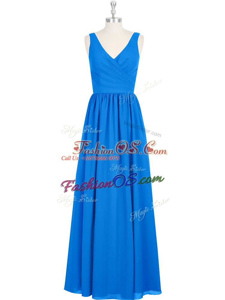 Royal Blue Dress for Prom Prom and Party and Military Ball with Ruching V-neck Sleeveless Zipper