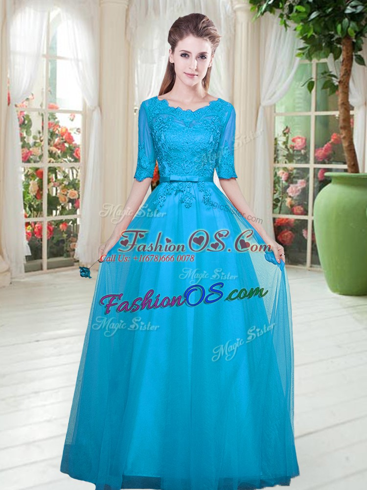 Blue Half Sleeves Floor Length Lace Lace Up Prom Dress