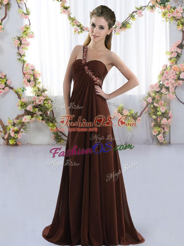 Brush Train Empire Quinceanera Dama Dress Brown One Shoulder Chiffon Sleeveless Lace Up