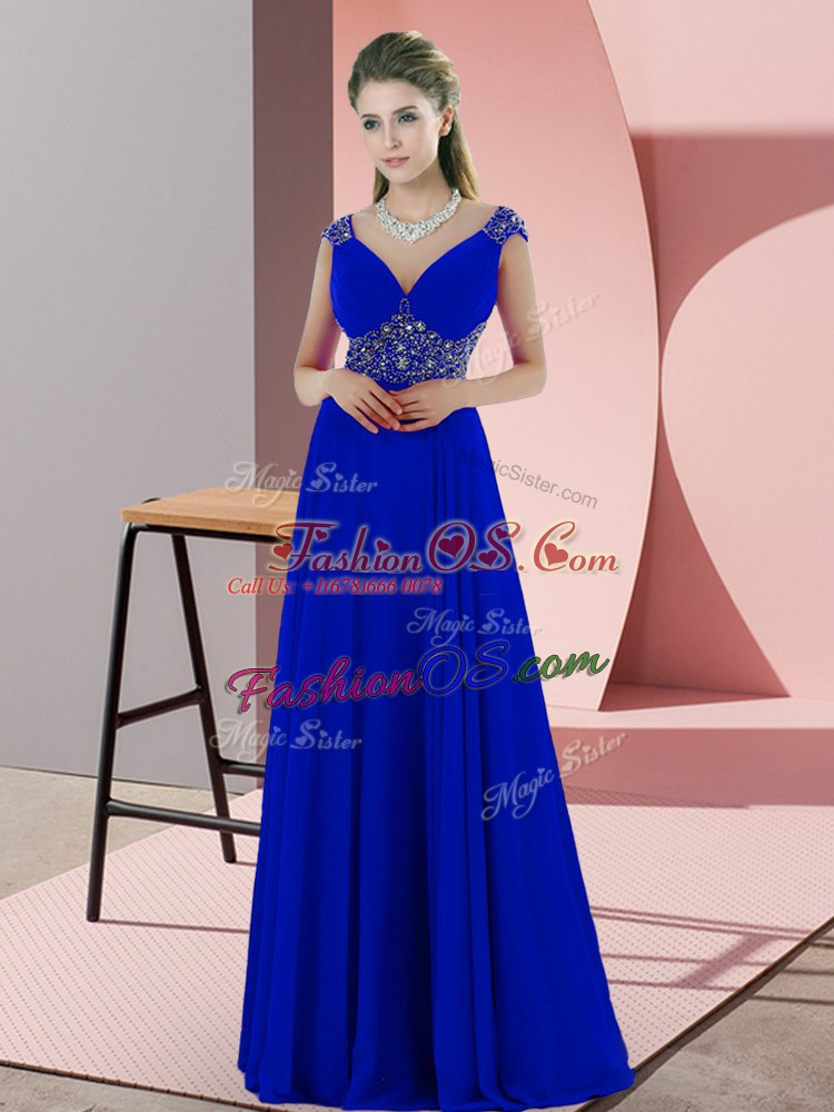 Custom Design Blue Backless V-neck Beading and Pick Ups Party Dress Satin Sleeveless Sweep Train