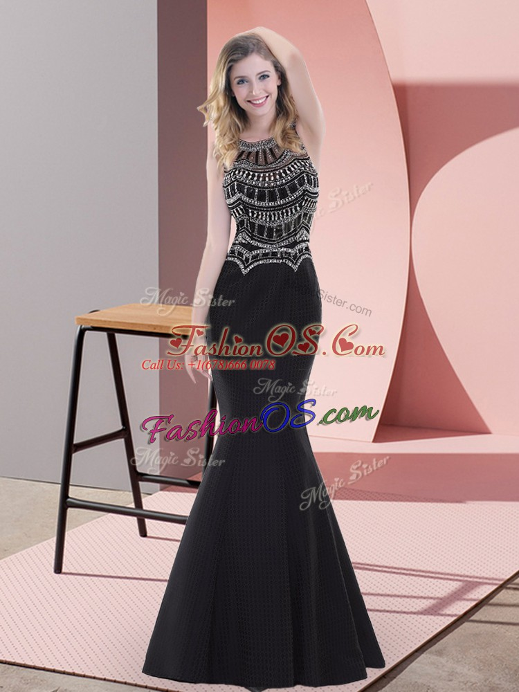 Shining Black Prom Party Dress Prom and Party with Beading Scoop Sleeveless Zipper