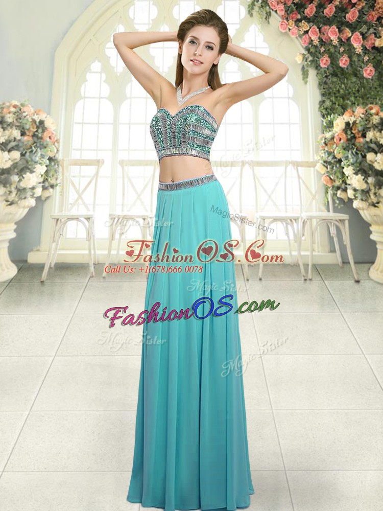 Suitable Aqua Blue Two Pieces Chiffon Sweetheart Sleeveless Beading Floor Length Backless
