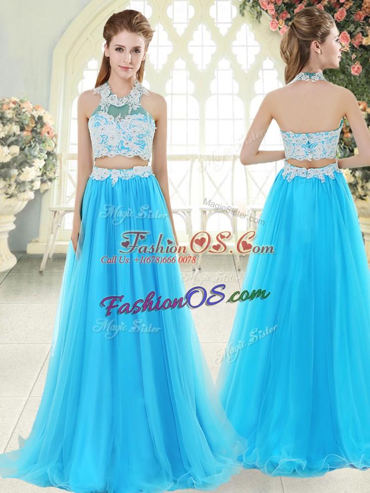 Fine Aqua Blue Sleeveless Floor Length Lace Zipper Homecoming Dress