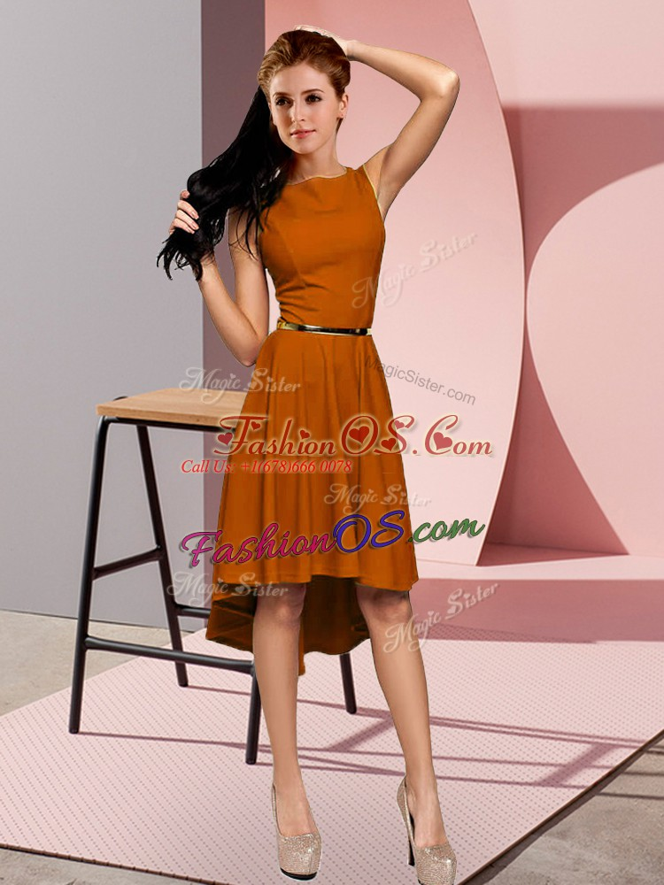 Elegant High Low Brown Evening Dress Scoop Sleeveless Lace Up